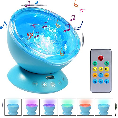 Upgraded Ocean Wave Projector, Ifecco LED Night Light with Remote, Build in with Music Player & Timer,12 LED & 7 Colors Mode for Bed Room (Ocean Blue)
