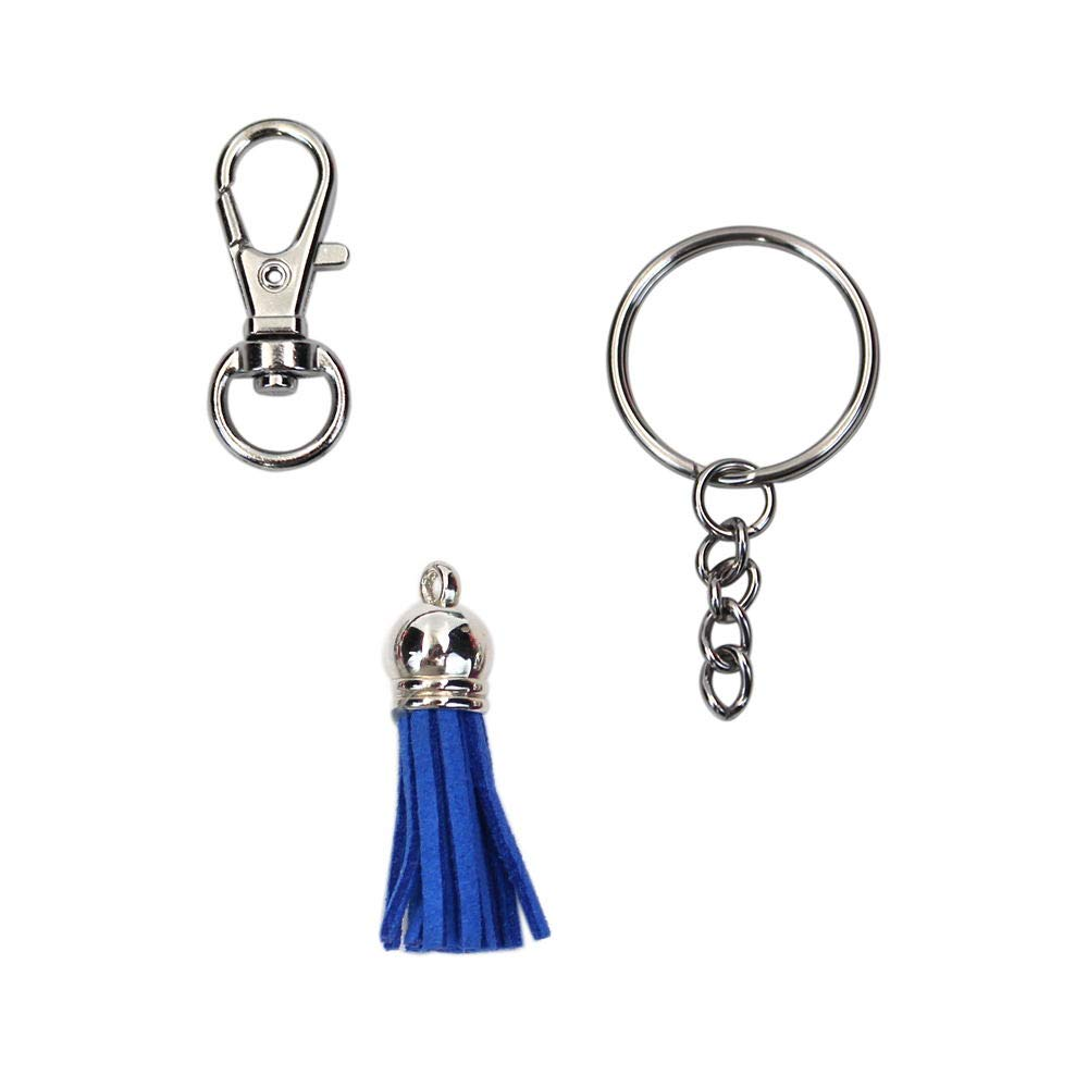 100Pcs Metal Key Chain Ring with Chain and Tassel Pendants Bulk for Crafts Jewelry Making