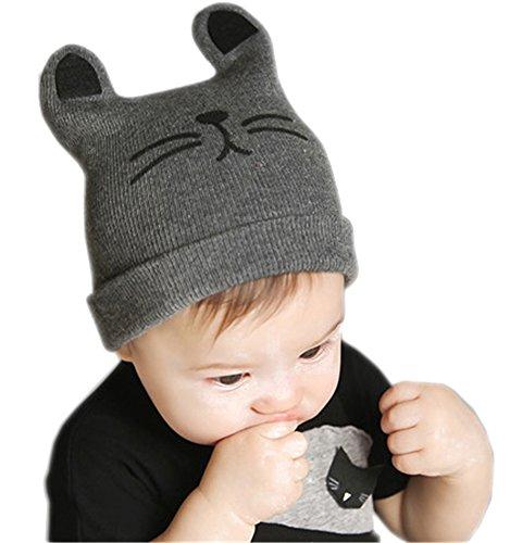 Nao Kitty - AnVei-Nao Baby Kids Winter Knitted Warm Animal Cat Ears Beanie Cute Hat Caps Grey