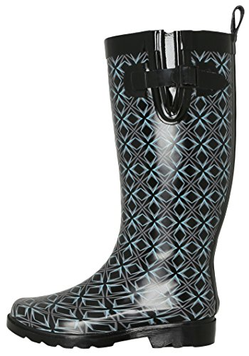 (Capelli New York Ladies Tall, Lined Rain Boots with Shiny Geo Graphic Diamond Print Black Combo 8)