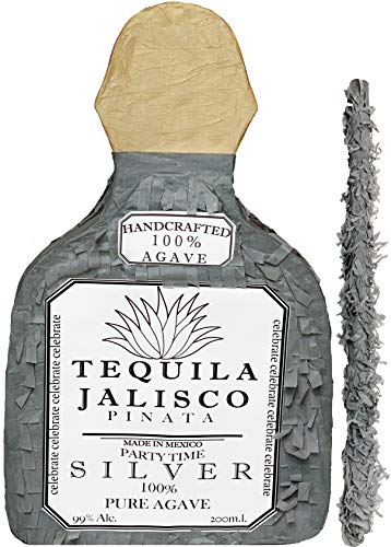 Silver Tequila Bottle Pinata with Stick -17