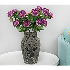 Skyseen 5PCS Silk Flower Artificial Cabbage Rose Flower for Home Decoration Office Decor,Purple 61