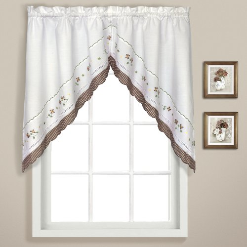 United Curtain Gingham Embroidered Swags, 60 by 38-Inch, Taupe, Set of 2
