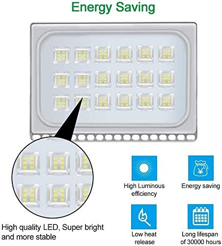 LED Flood Light, CE and ROHS Certified Outdoor Security Light SMD 2835 Super Bright Cold Warm White Floodlight for Yard, Garage, Garden, Lawn, Basketball Court, Playground 10PC 150W Cold White