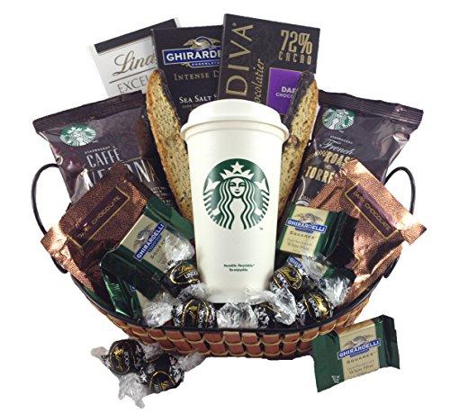Godiva, Ghirardelli, Lindt Dark Chocolate Collection with Starbucks Coffee Gourmet Gift Basket