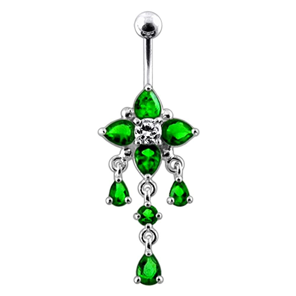 AtoZ Piercing Fancy Flower Dangling 925 Sterling Silver with Stainless Steel Belly Button Rings