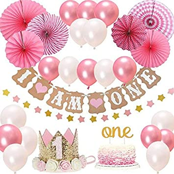 Bosoner First 1st Birthday Girl Decorations Pink Theme Kit Set Baby Girl 1st Birthday Party Cake Topper One I Am One And Stars Banner Fiesta Pink Hanging Paper Fan Flower Pink And White Balloons Amazon Co Uk Toys