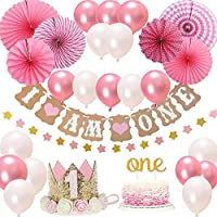 """FIRST 1st BIRTHDAY Girl DECORATIONS/Pink Theme Kit Set- Baby Girl 1st Birthday Party,Cake Topper-""""One"""", """"I Am One""""and""""Stars""""Banner, Fiesta Pink Hanging Paper Fan Flower,Pink and white balloons"""