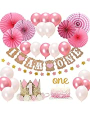 "FIRST 1st BIRTHDAY Girl DECORATIONS/Pink Theme Kit Set- Baby Girl 1st Birthday Party,Cake Topper-""One"", ""I Am One""and""Stars""Banner, Fiesta Pink Hanging Paper Fan Flower,Pink and white balloons"