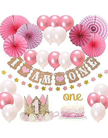 39b3cf71b1ca4 FIRST 1st BIRTHDAY Girl DECORATIONS/Pink Theme Kit Set- Baby Girl 1st  Birthday Party