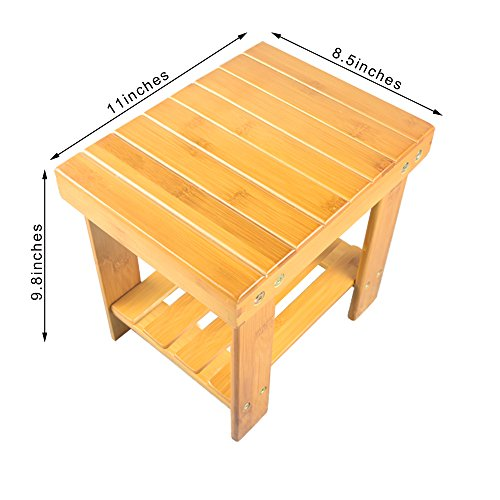 I-first Kid's Bamboo Stool, Multfunctional Anti-Slip Lightweight Wooden Step Stool Seat with Storage Shelf for Bathroom Living Room Bedroom Garden SMALL