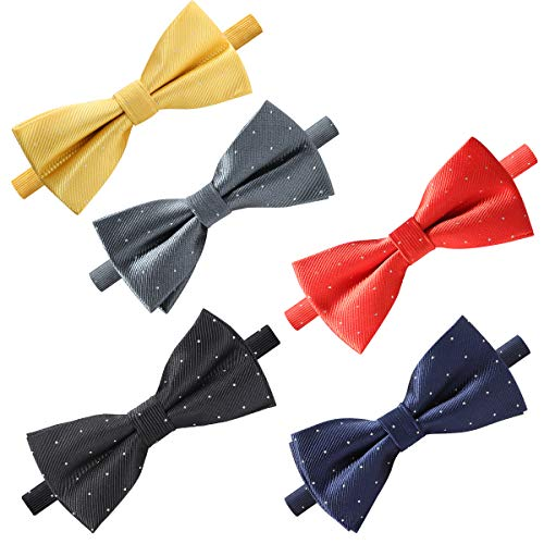 Elegant Pre-tied Bow ties Formal Tuxedo Bowtie Set with Adjustable Neck Band,Gift Idea For Men And Boys(5/8/10/20 Pcs) (Mixed Color H)