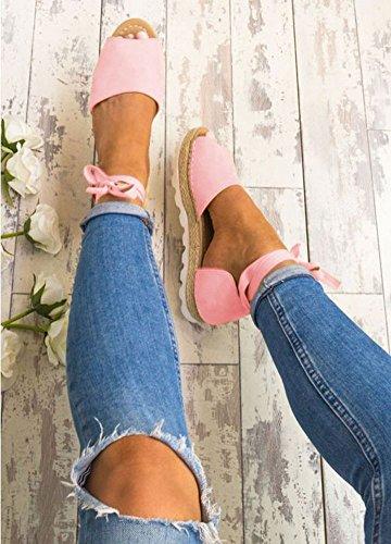 Casuale Spiaggia Shoes Estivi Eleganti Scarpe Sandali Peep Dolce Minetom Caramella Basso Donna Colore Tacco Toe Pink Sandals wtqRwZzI