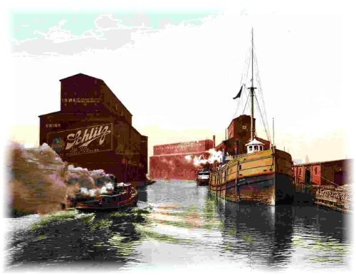 Chicago River Ship Canal Grain Elevators Schiltz Beer - Canales Rob