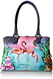 Anuschka Anna Handpainted Leather Women's Multi Compartment Satchel, Trf-Tropical Flamingo