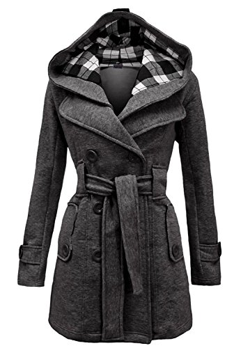 Noroze Womens Check Hood Duffle Coat (8 (UK 12), Charcoal)