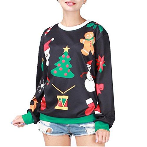 Cfanny par 3d impresión de Papá Noel Ugly Navidad sudadera Tops Christmas Tree