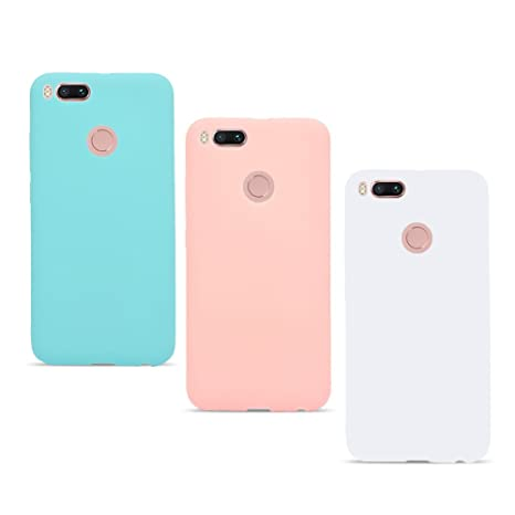 3X Funda Xiaomi Redmi Mi A1 / Mi 5X Ultrafina Delgado Cover Color Caramelo Suave TPU Silicona Goma Flexible Protector Trasero Carcasa Gel Case ...