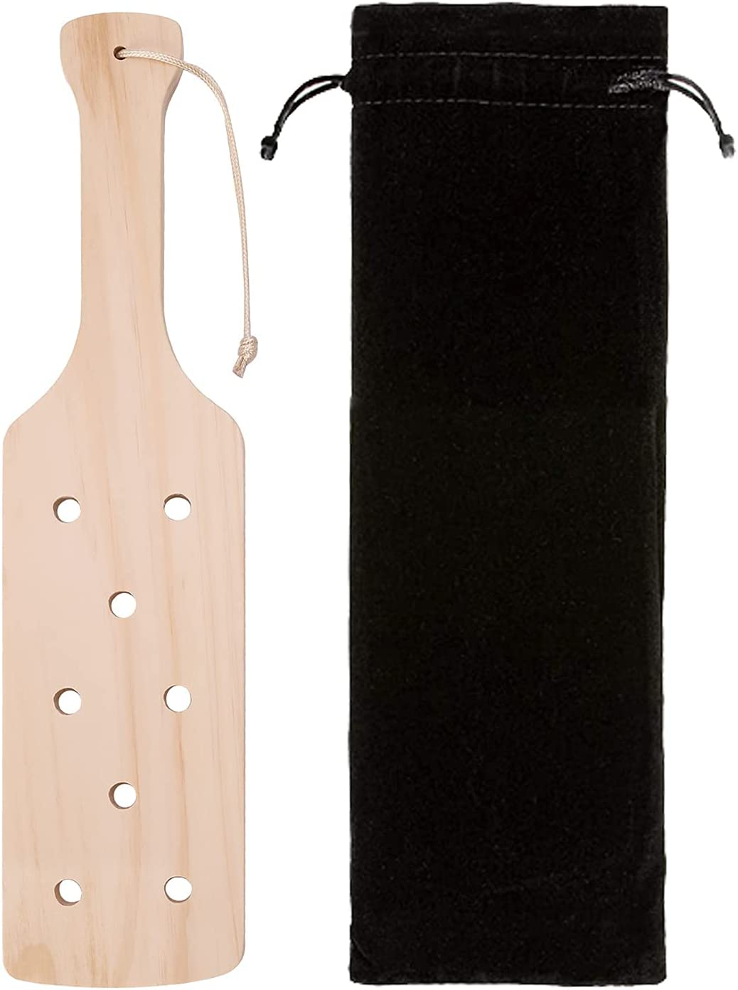 Enhanced 14inch Wood Paddle Confident to Swing with Unique Handle and Airflow Holes, Flannel Drawstring Bag Included