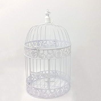 LIPETLI Jaula de Pájaros Jaula de Placa Decorativa de Metal Blanco ...