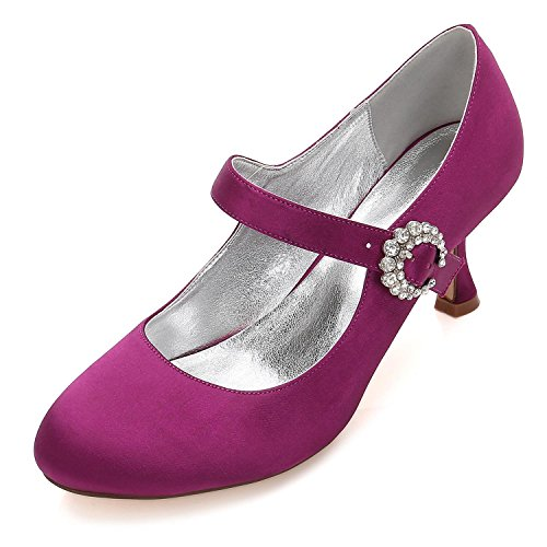del del Mujeres Boda Zapatos Boda Bombas La Cordón del 17061 Dedo Satén L Hebilla de Pie del Corte Mary de Las Purple YC Jane Cerrado Alto 26 Nupcial Talón ARwBIqUBS