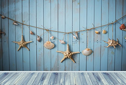 Yeele Backdrops 7x5ft Nautical Sea Blue Wooden Plank Shell Wood Floor Starfish Conch Navigation Ship Life Pictures Baby Adult Artistic Portrait Photoshoot Props Photography Background Wallpaper