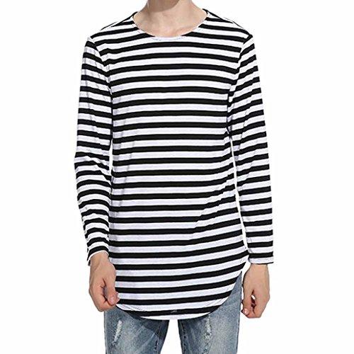 Mens Shirt,FUNIC Men's Autumn Winter Striped Tops Shirt Long Sleeve Casual T-Shirt Blouse (L, Black)