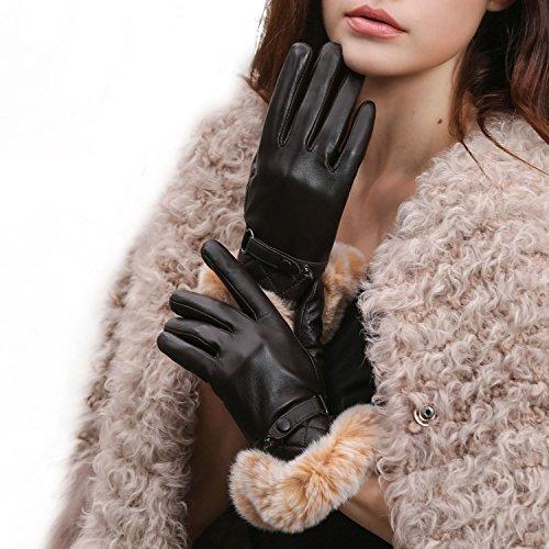 GSG Womens Warm Italian Nappa Leather Gloves Winter Luxury Genuine Rex Rabbit Fur Cuff Non Touchscreen Lady 8.5 Brown
