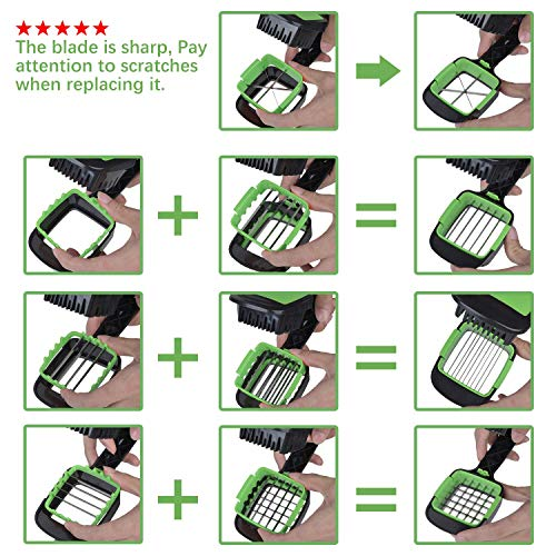 Nicer Dicer Quick, LONGMADA 5 In 1 Vegetables Cutter Fruits Cutter Chopper Slicer Column Egg Cutter Perfect for Kitchen (Green) by LONGMADA (Image #1)