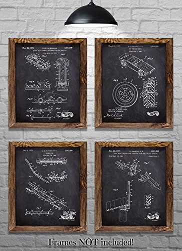 Hot Wheels Posters - Hot Wheels Decor - Original Mattel Hot Wheels Patent Prints - Set of Four 8