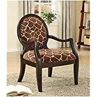 ADF Accent Chair with Giraffe Print in Espresso Finish