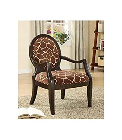 .com: adf accent chair with giraffe print in espresso finish ...
