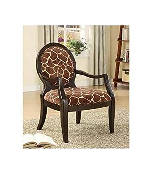 Amazoncom ADF Accent Chair with Giraffe Print in Espresso Finish