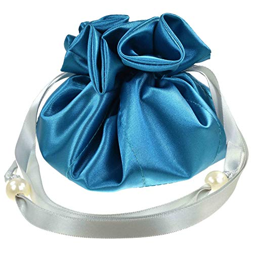 Satin Drawstring Jewelry Pouch, 16 Pockets (8 Double Pockets), Turquoise-Teal and Silver ()
