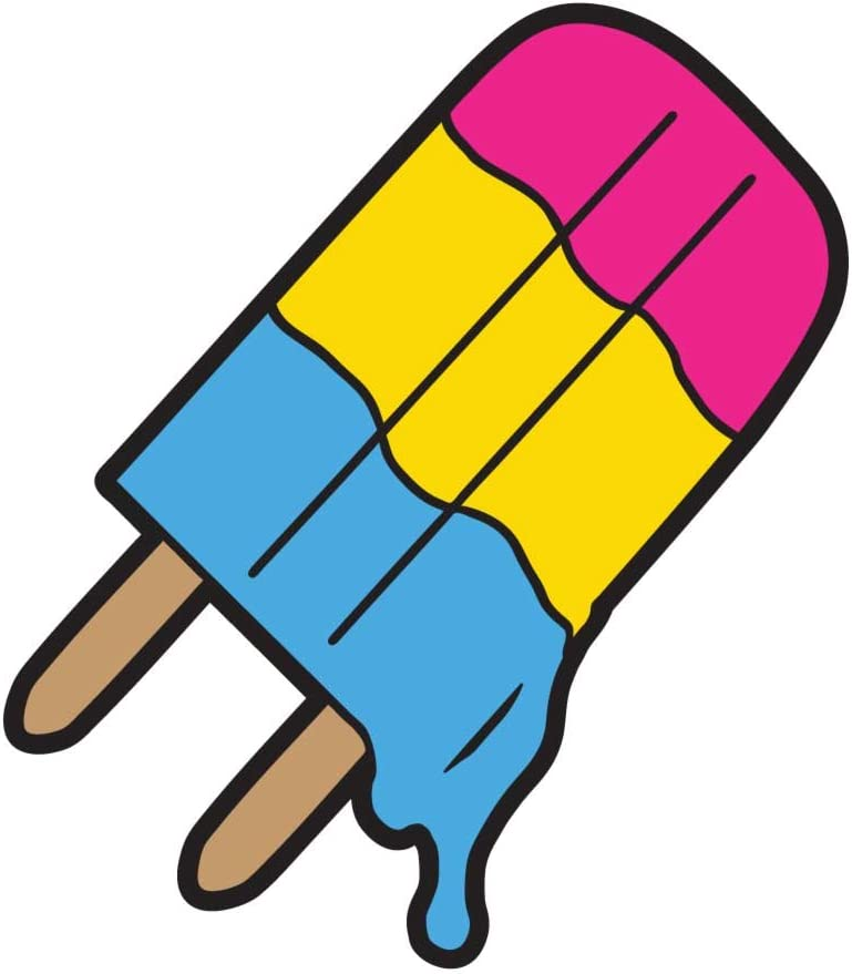 Dark Spark Decals Pansexual Pride Ice Pop Icecream, Hidden Pride Flag - 4 Inch Full Color Vinyl Decal for Indoor or Outdoor use, Cars, Laptops, Décor, Windows, and More