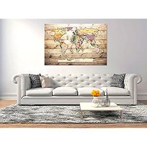 murando – Mapamundi con Tablero para Clavar chinchetas 120×80 cm – Cuadro en Lienzo sintético – 1 Parte – Panel de Fibra – Mapa del Mundo Continente – – Viajes geografia Vintage k-C-0077-v-a