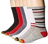 Gold Toe Men's Fashion Sport Crew Sock 6-Pack, Grey/White/Red, Sock Size: 10-13/Shoe Size:9-11