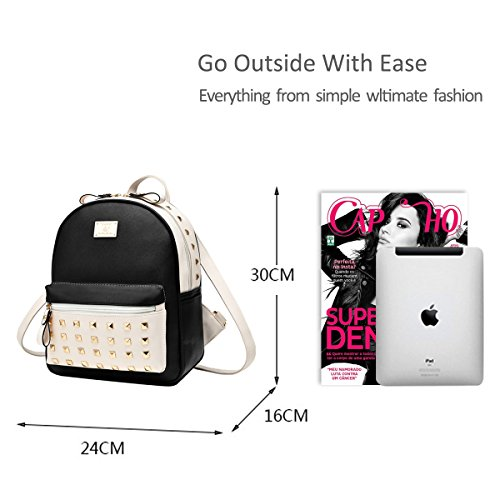 Travel amp;Doris Metal New Handbags Fashion Women Schoolbags Black Backpack White Leather Bag Splice Satchel PU Nicole 5qwYzCdq