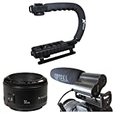 Opteka Action Filming Kit with 50mm f/1.8, X-Grip and Video Shotgun Microphone for Canon EOS 60D, 60Da, 50D, 5D, T5i, T4, T4i, T3i, T3 and SL1 Digital SLR Cameras