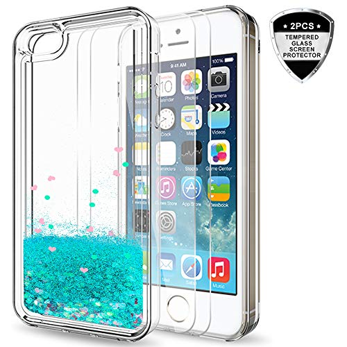 iPhone 5S Case, iPhone SE/SE 2 Case with 2pcs Tempered Glass Screen Protector for Girls Women, LeYi Cute Shiny Glitter Liquid Clear TPU Protective Case for iPhone 5 ZX Turquoise