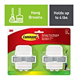 Tools & Hardware : Command 08095001268 Broom & Mop Grippers, Holds up to 4 lbs (17007-HW2ES), 2, Grey/White