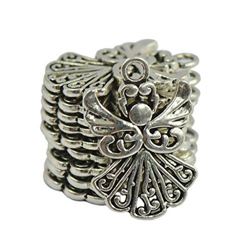 MonkeyJack 50pcs Alloy Filigree Hollow out Angel Charms Pendant Jewelry DIY Crafts Bulk ()