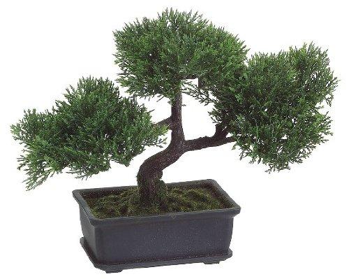 "Mini Artificial Cedar Bonsai Tree House Plant - 9"" Tall"