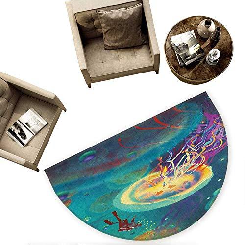 Fantasy Half Round Door mats Giant Jellyfish and Diver in The Sea Underwater Submarine Aquatic Artwork Print Bathroom Mat H 78.7'' xD 118.1'' Teal Purple
