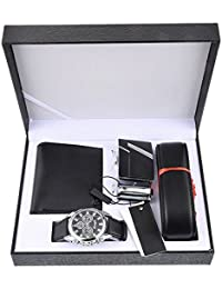 Mens Black Artificial Leather Belt Wallet Key Chain Set with Box Organizer