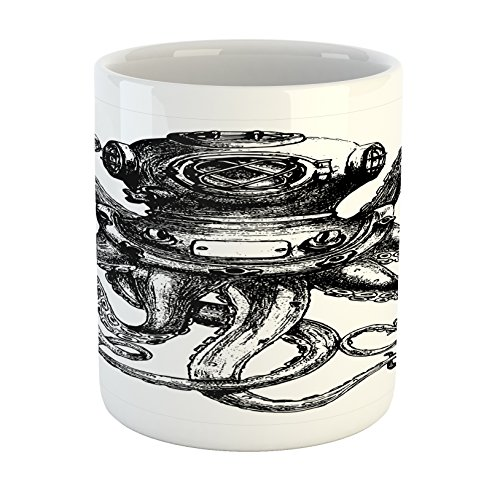 Ambesonne Octopus Mug, Vintage Style Diver Octopus Marine Animal Tentacles Scuba Concept, Ceramic Coffee Mug Cup for Water Tea Drinks, Charcoal Grey and White