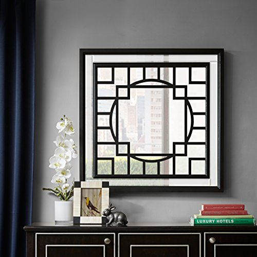 Gramercy Patterned Print Black Mirror Black See below (Patterned Wood Mirror)