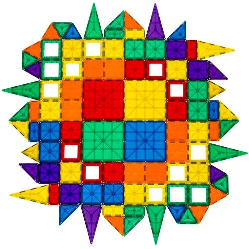100-Piece Clear Multi Color Magnetic Tiles Set, DIY Interlock Building Blocks, Ideal for Exploring Spatial Relations, Color and Shape Recognition