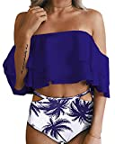 BeachQueen Women Two Piece Bikini Ruffled Flounce Off Shoulder Crop with Palm Tree Print Cut Out Bottoms L