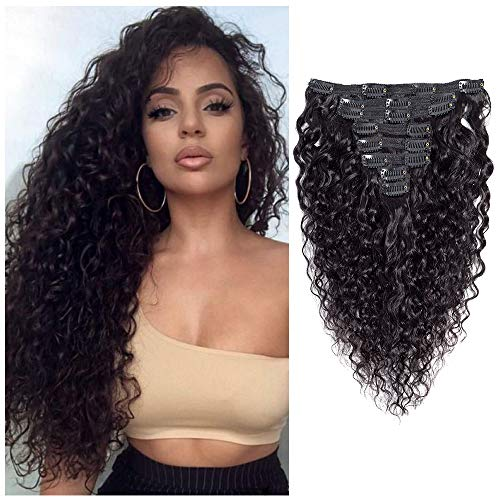 Brazilian 8A Virgin Remy Water Wave Curly Clip ins Hair Extensions Natural Color,Water Wave Clip in Human Hair Extensions Human Hair for Women Double Weft 8Pcs/lot 120gram/set (14 inch, Water Wave)